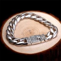 56 г Твердые серебряные 925 толстые звенья цепи мужчины s браслет Винтаж краткое дизайн Прохладный 925 пробы серебро ювелирные изделия мужчины