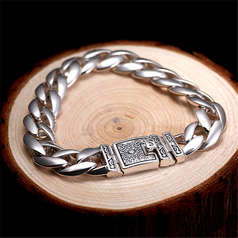 56g Solid Silver 925 Thick Link Chain Mens Bracelet Vintage Brief Design Cool 925 Sterling-Silver-Jewelry Men Top Quality Gifts