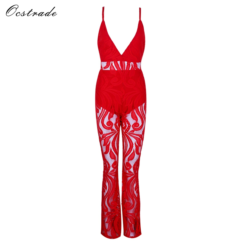 Ocstrade New Arrival 2017 Summer Red floral Lace Two Piece Jumpsuit Sexy Clubwear Sleeveless Deep v-neck Jumpsuit Romper Women red sexy floral lace two piece outfits