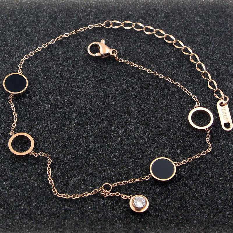 New Design 2 Circles 2 Enamel Circle Middle Zircon Anklets Top Quality Titanium Steel Rose Gold Color Woman Jewelry Gift