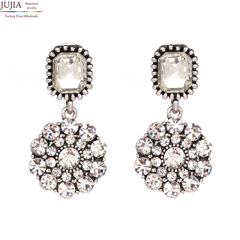 JUJIA Good quality New arrive 2019 Trend fashion women simple small crystal vintage statement Earrings for women jewelry