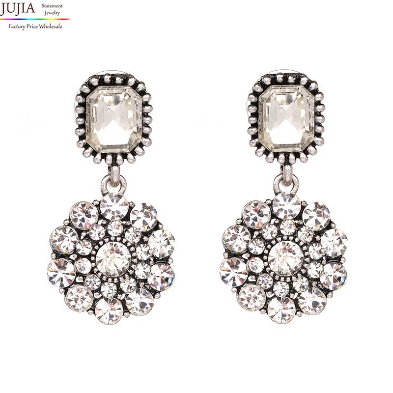 JUJIA bonne qualité nouvelle arrive 2019 tendance mode femmes simple petit cristal vintage déclaration boucles d'oreilles pour les femmes bijoux