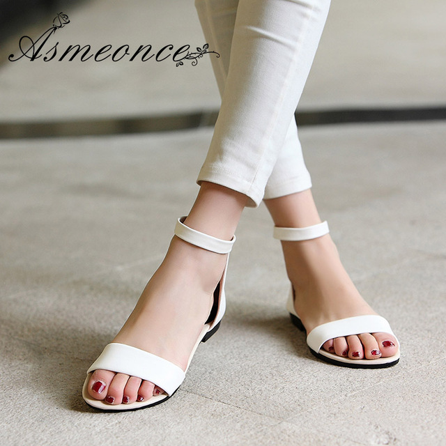 d35f743bc5093f Women Flat Sandals Female Concise PU Leather Cool Summer Beach Ladies Girls  Low Heels Shoes Woman Fashion Black White