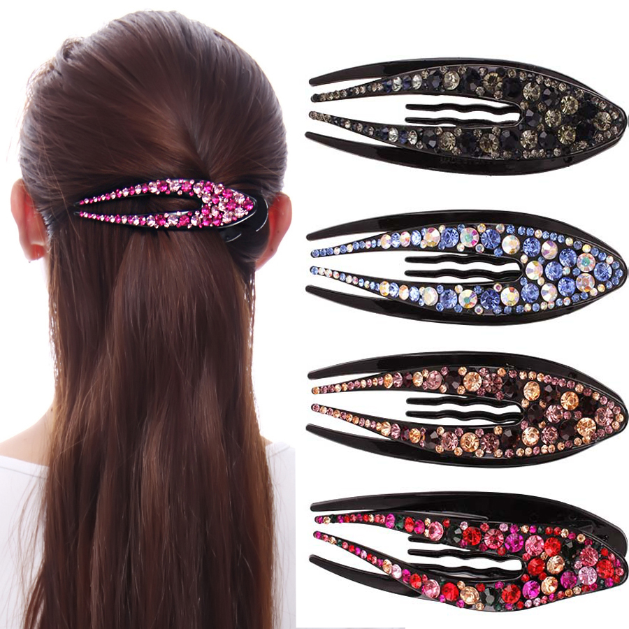Haimeikang Women Large Size Hair Claws Duckbill Clip Rhinestone Crystal Hair Clips 11cm Hair Accessories Girl Horsetail Hairpin