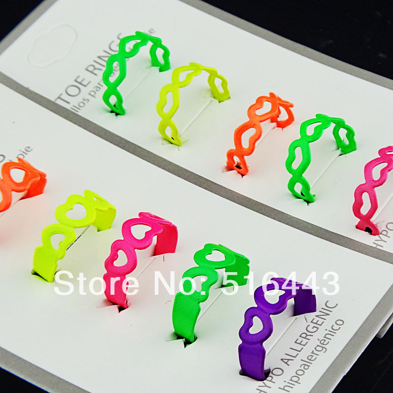 Fashion 20pcs Women Mix Color Enamel Hollow Heart Toe Rings Adjustable Free Shipping Wholesale Jewelry Lots A-393
