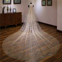 Champagne/White Luxury Women Bridal Long Veils Velo De Novia One Layer 3 Meters Romantic Cathedral Wedding Veils Marriage Gift