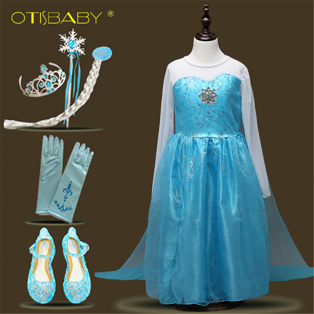 Girls Elsa Dress Evening Party Baby Girl Elza Pageant Tulle Long Sleeve Dress Toddler Girl Elsa Princess Birthday Party Dresses