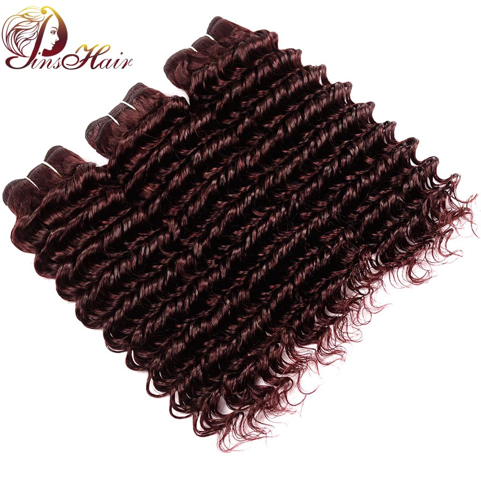 Malaysian Hair Deep Wave 3 Bundles Wine Red Burgundy Bundles 100% Human Hair Weft Non Remy Pinshair 10-26 Inches Deep Curly Hair ...
