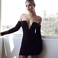 New Off Shoulder Strapless Mini Women Night Club Dresses 2017 Party Deep V Neck Long Sleeve