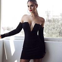 New Off Shoulder Strapless Mini Women Night Club Dresses 2017 Party Deep V Neck Long Sleeve