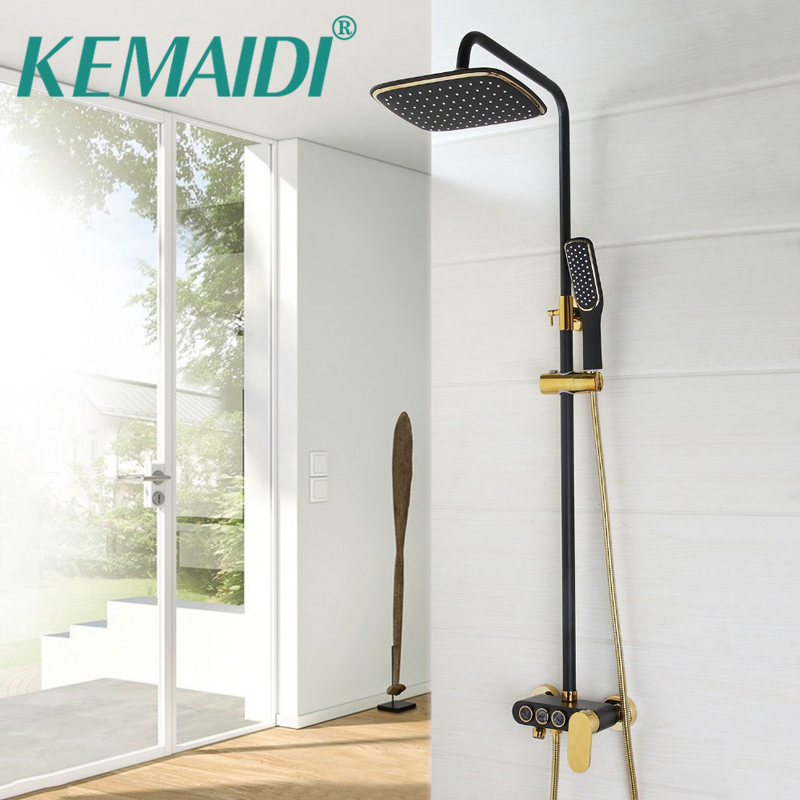 KEMAIDI Rainfall Shower Set ORB Faucet Bathroom Shower Single Handle Double Control Waterfall Shower Spray Mixer Tap Wall Mount kemaidi new modern wall mount shower faucet mixer tap w rain shower head