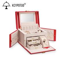 large capacity High quality PU leather jewelry storage box, Jewelry necklace ring wedding birthday present недорого