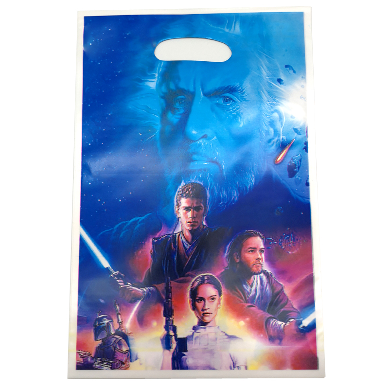 10PCS Decoration Happy Birthday Party Kids Boys Favors Star Wars Theme Food Grade Plastic Loot Bags Baby Shower Party Gifts Bags