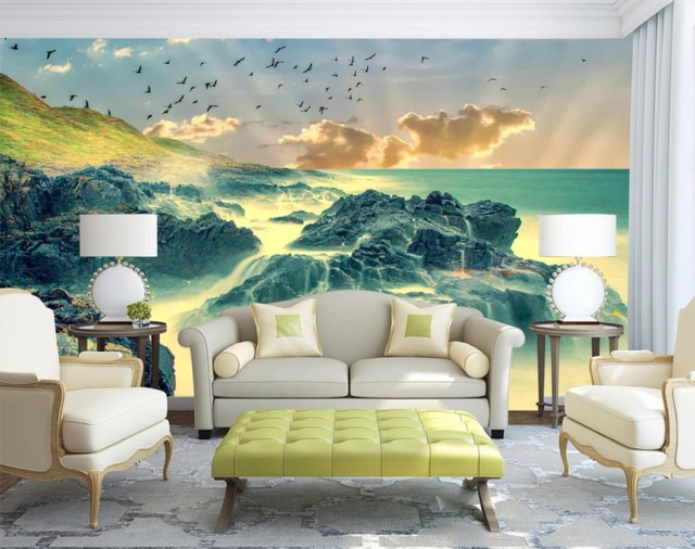 3D Murale Carta Da Parati in Stile Europeo Mare Nuvole Wallpaper Per ...