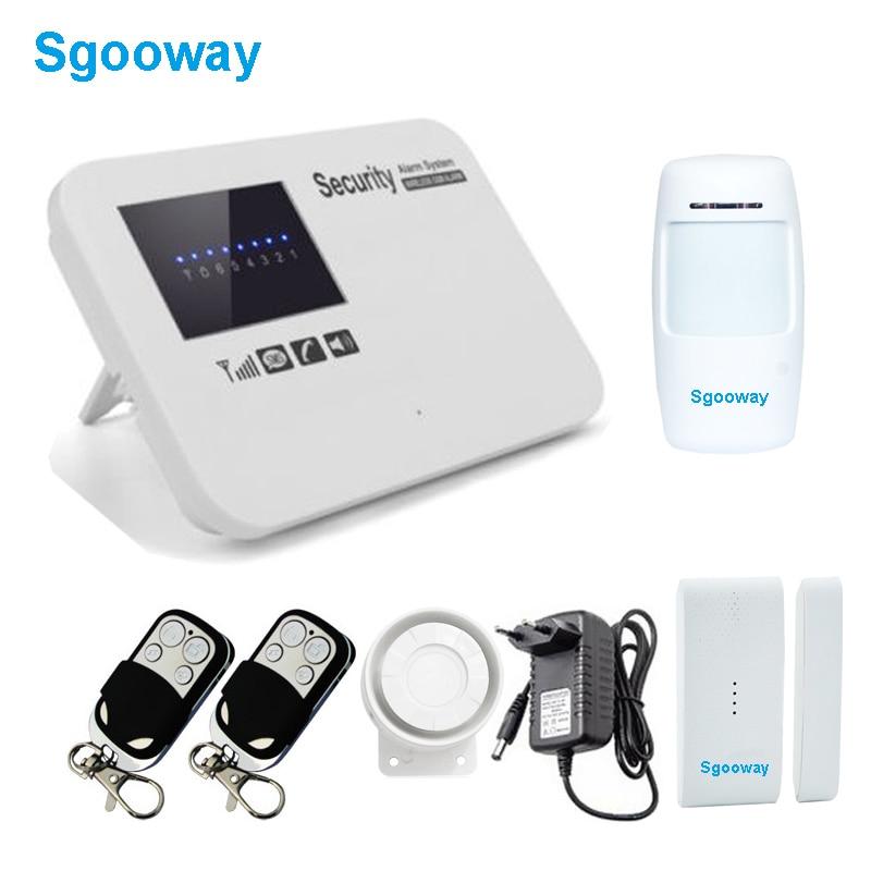 sgooway sem fio gsm sistema de alarme em casa sistemas de alarme com pir detector russo