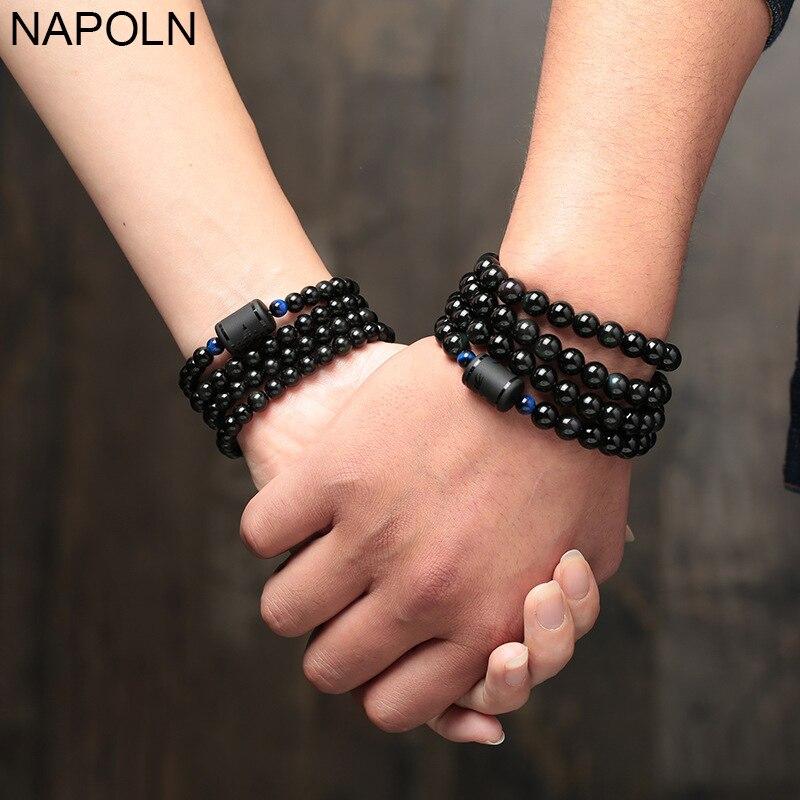 NAPOLN Bracelets Bangles Multilayer Love Bracelet 6MM 8MM Black Obsidian Stone Bead Bracelet Women Men Transport Lucky Jewelry