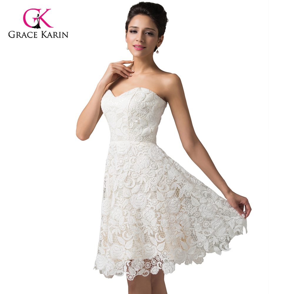 buy lace evening dresses 2016 grace karin ivory crochet sweetheart robe de. Black Bedroom Furniture Sets. Home Design Ideas