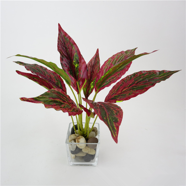 High Quality Artificial Lifelike Green Leaves Potted Plant