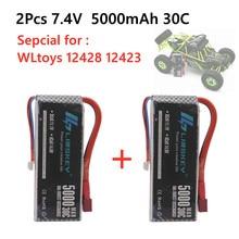 Batterie Lipo Rc 2S 7.4V, 5000mah, 30C Max 60C, pour Wltoys, pièces de rechange de voiture RC, nouvelle Version, 2 pièces, 1:12, 12428, 12423