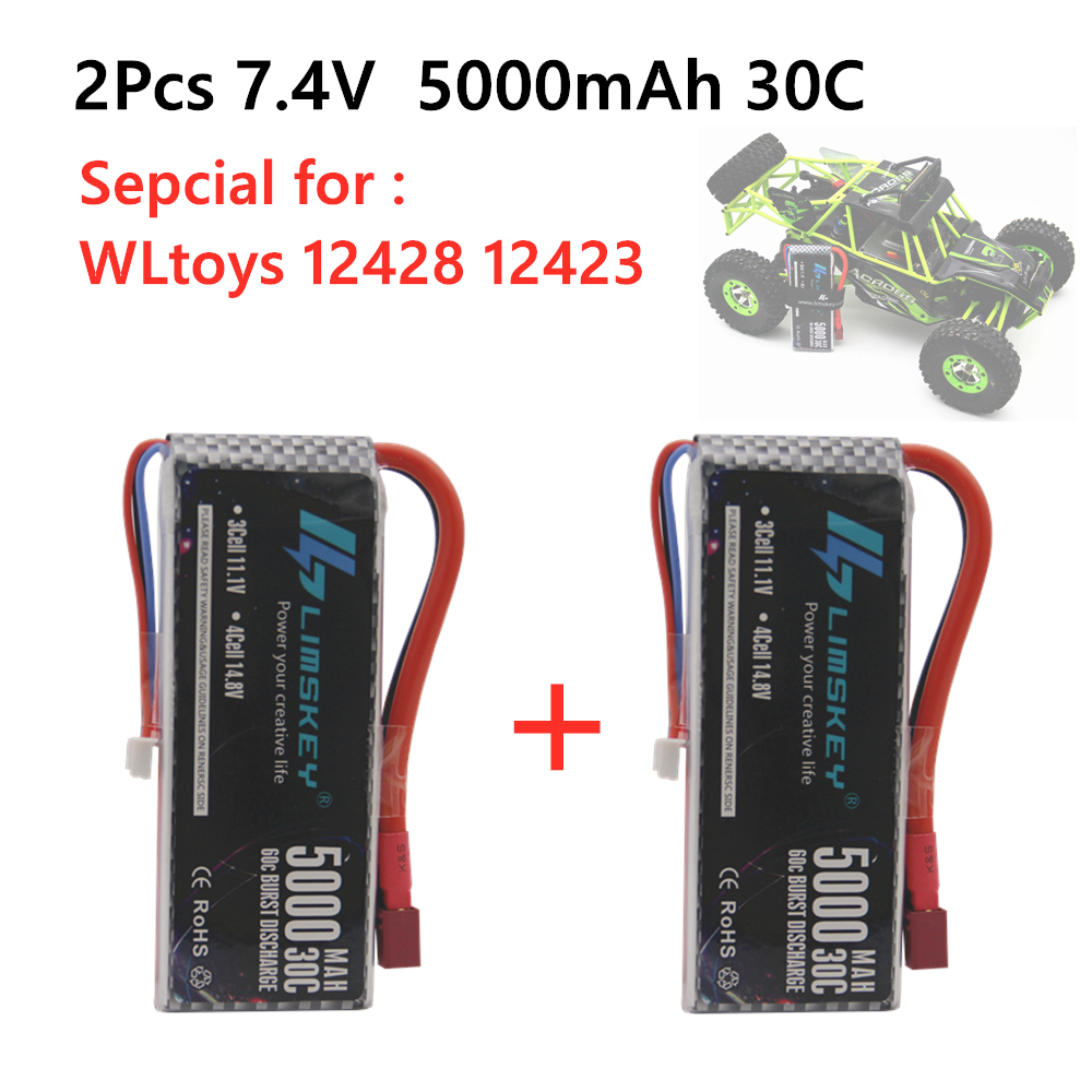 2PCS New Version Rc <font><b>Lipo</b></font> Battery <font><b>2S</b></font> 7.4V <font><b>5000mah</b></font> 30C Max 60C for Wltoys 12428 12423 1:12 RC Car Spare parts image