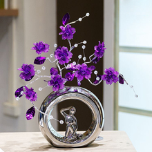 High grade Crystal flower Decoration Crafts lady characters ceramic vase ornament Figurines Miniatures Home Decor wedding gift цена