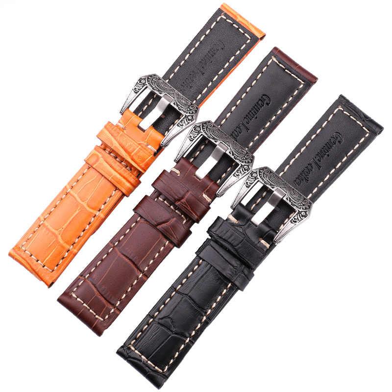 إيطاليا جلد طبيعي حزام (استيك) ساعة حزام 22 مللي متر 24 مللي متر سميكة اليدوية لينة جلد البقر Watchbands حزام مع الرجعية الصلب مشبك ل بانيراي