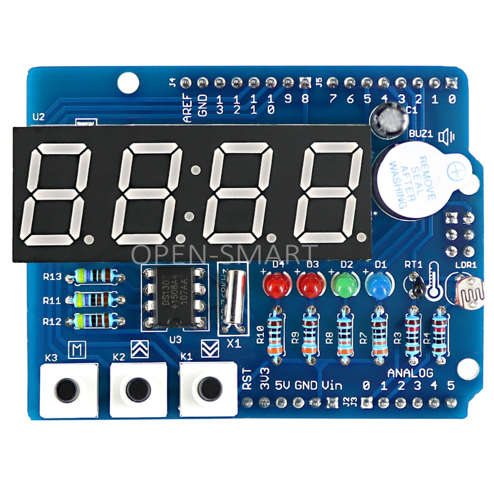 все цены на Clock Shield RTC module DS1307 module Multifunction Expansion Board with 4 Digit Display Light Sensor and Thermistor For Arduino