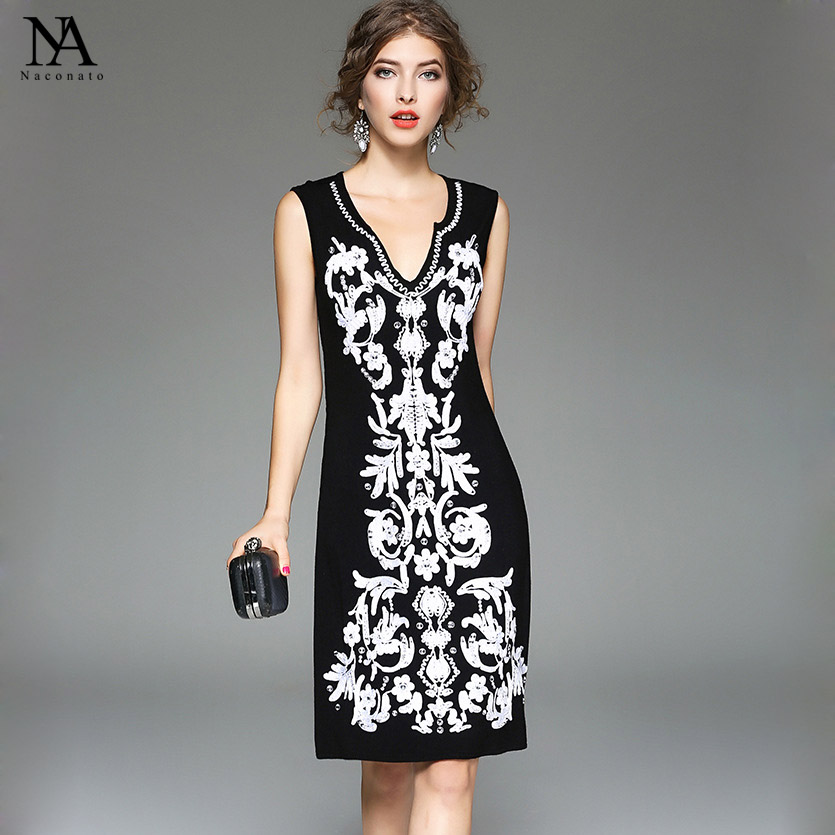 New Arrival 2018 Summer Womens Sexy V Neck Sleeveless Embroidery Cotton High Street Casual Dresses in Plus Sizes