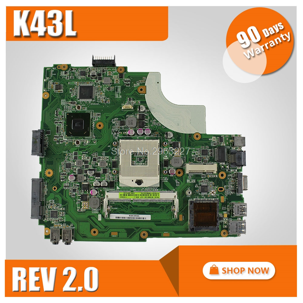 K43L Motherboard Rev:2.0 DDR3 HM65 For ASUS X44H X84H K84L K43L Laptop motherboard K43L Mainboard K43L Motherboard test 100% OK g73sw for asus motherboard rev2 0 hm65 4ram slots 3d connector 90r n3imb1000y mainboard full test