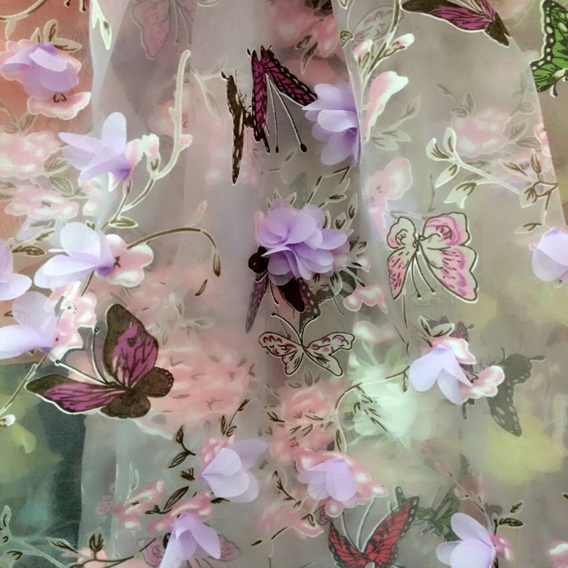 5YardLot Butterfly Organza Print 3D Embroidery Fabric