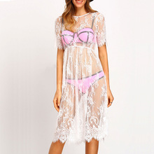 TOKITIND Summer Women Sexy Swimsuit Lace Crochet Bikini Cover Up Swimwear Beach Dress Pareo Beach Tunic Cover ups Capes Dress
