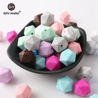 Let's make Silicone Chewable Multi faceted Beads 17mm 100pcs Nursing Bracelets Making DIY Accessories Pacifier Clip Teether Toys