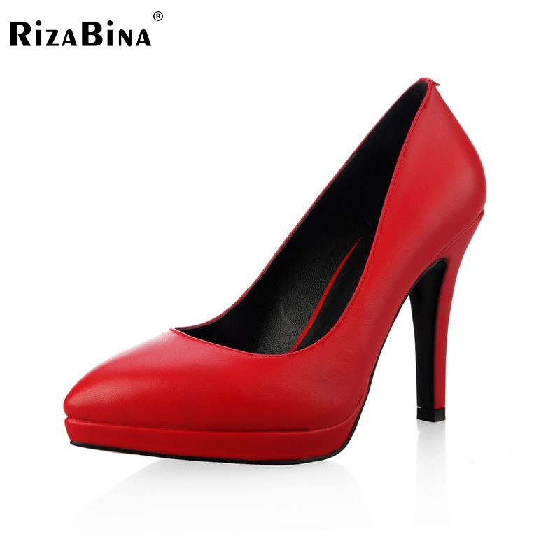 women real genuine leather stiletto platform high heel shoes sexy fashion brand pumps ladies heeled shoes size 34-39 R5589 size 35 42 women s platform high heel shoes stiletto brand quality heeled pumps ladies fashion sexy gladiator shoes r08753