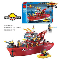 Super Large Fire Station Educational Building Block Compatible With Legoed City Fire Boats Brick Fireman Toy