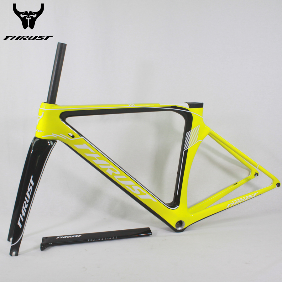 THRUST carbon road bike frame T1000 road bicycle frameset with fork di2 bike carbon road frame 48 50 52 54 56cm bicycle parts 53cm 55cm 58cm fixed gear bike frame matte black bike frame fixie bicycle frame aluminum alloy frame with carbon fork