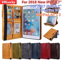 VRLucky For iPad 2018 2017 9.7 Air 1 2 Pro 9.7 inch Case Business Style Pencil Holder Quality PU Leather Flip Stand Cover
