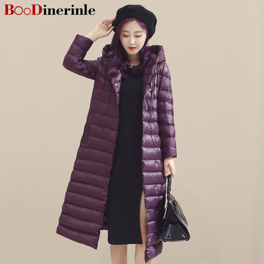 BOoDinerinle2017New Spring Winter 90% White Duck Extra Long Jacket Women's Ultra Light Weight   Down     Coat   Female Outerwear YR004