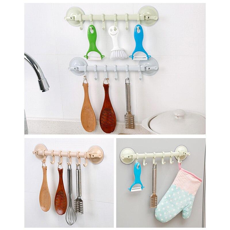 Wall Door Hook Wall Vacuum Rack Suction Cup 6 Hooks Towel Bathroom Kitchen Holder Sucker Hanger 899