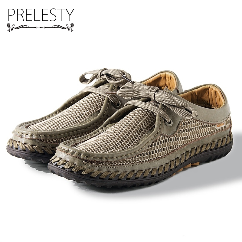 Prelesty Mesh Men Sandals Summer Slippers High Quality Casual Beach Sandals Flip Flops Beach Lace Up Dress Shoes Fish Breathable high quality man flip flops slippers beach sandals summer indoor
