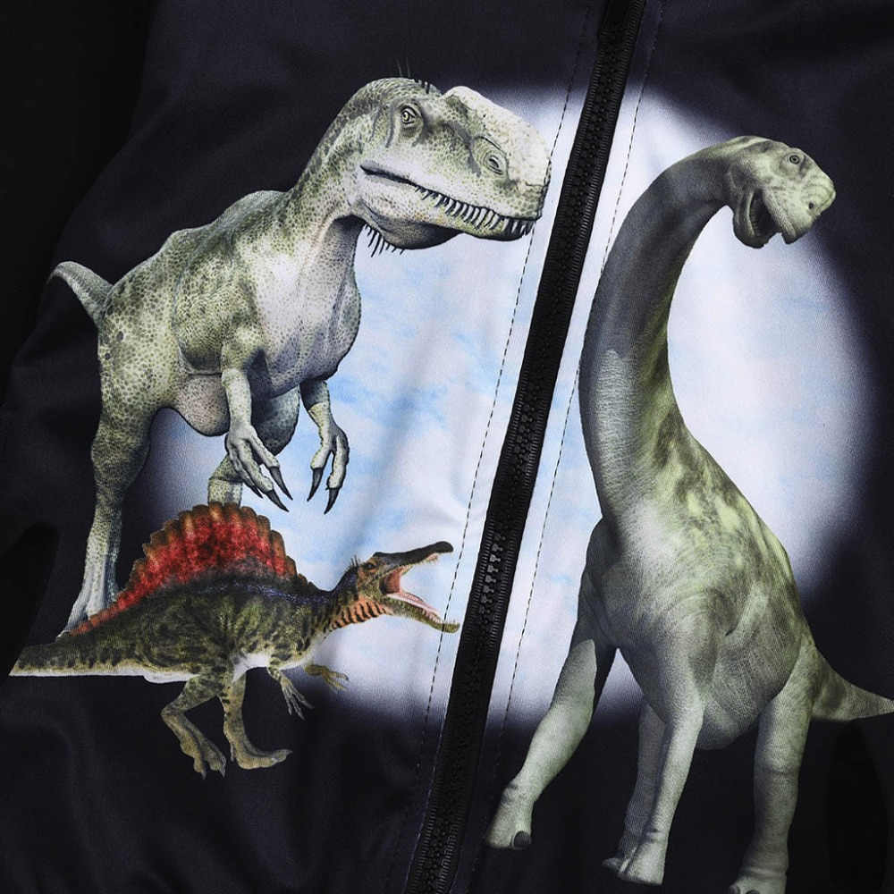 ملابس أطفال من CHAMSGEND سترة بقلنسوة للأطفال بأكمام طويلة مزينة بسحّاب على شكل ديناصور كارتوني قطعة علوية بقلنسوة P30