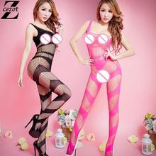 CeZot fashion sex dolls Open Crotch Black lingerie set 100% stand charming sexy costumes Flasher catsuit underwear for women