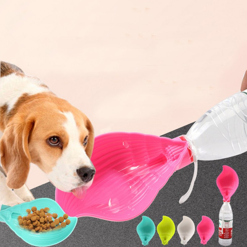 2019 Pet Dispenser Durable High-Quality Material Plastic Small Size Large Capacity Double Purposes Drinking Cup And A Food Bowl image