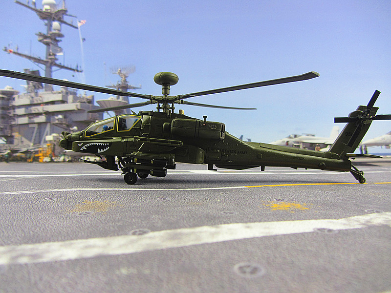 The Apache helicopter model AH-64D high simulation of static finished aircraft 1:72 US Army ...