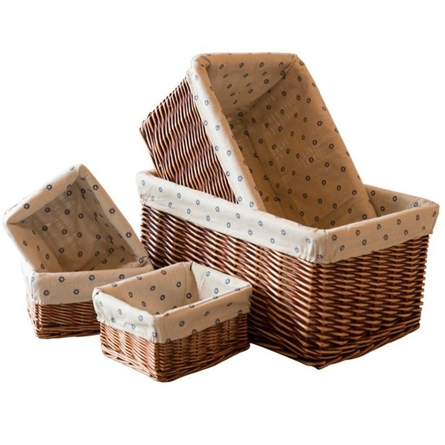 Home Storage Rattan Basket Wicker Baskets For Books Toys Kitchen Office Desktop Sundries