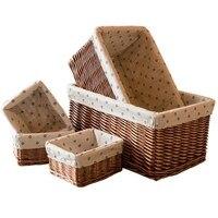 Home Storage Rattan Storage Basket Wicker Baskets For Books Toys Storage Basket Kitchen Office Desktop Sundries Organizer Basket