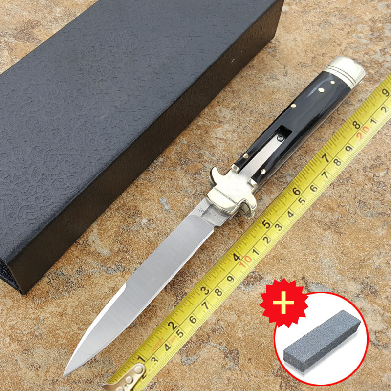 Voltron INCH Acrylic handle Italian Godfather Stiletto D2 steel blade survival outdoor camping knives Plus model