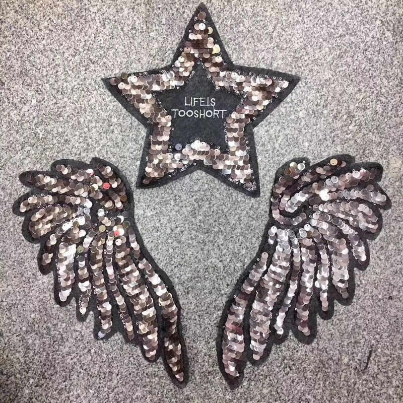 ... Wing Star Black Lace Sequin Embroidery Patches for Clothing Sew on  Clothes Dress Sweater Appliques Badge ... 381760fab9b5