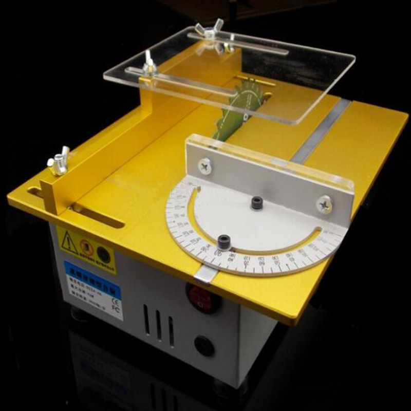 Mini Table Saw Handmade Woodworking Bench Saw DIY Hobby Model Cutting Tool 7000RPM With Power Adapter Saw Blade Tools