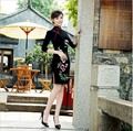 Spring silk velvet embroidery  women dress cheongsam Chinese vestidos tang suit Qipao costumes Chinese party dress size S-3XL