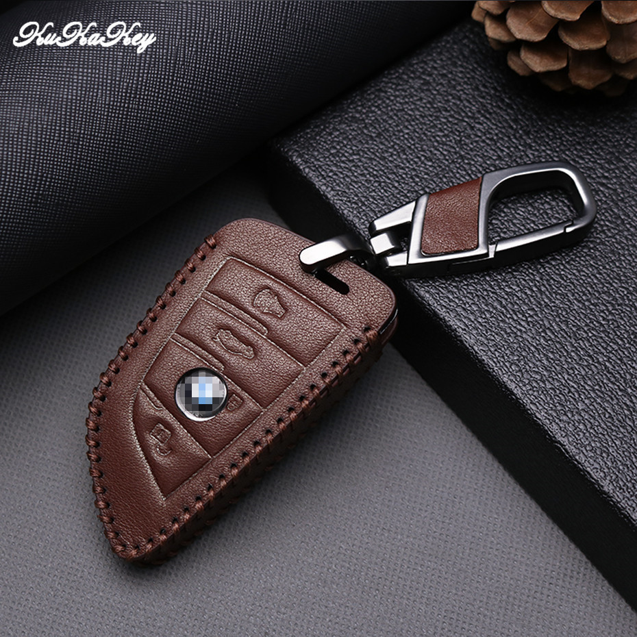 KUKAKEY New Brown Leather Key Case For BMW X5 X6 2014 2015 2016 F15 2&3 Buttons Smart Key Leather Shell Bag Holder Accessoires
